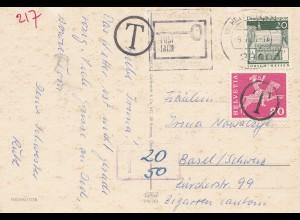 Schweiz: 1963: Ansichtskarte Wilhelmshafen nach Basel, Nachgebühr
