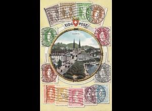 Schweiz: 1908: Ansichtskarte Luzern nach Stuttgart