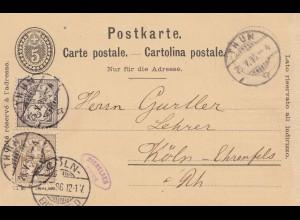 Schweiz: 1896: Ganzsache von Thun nach Köln mit Ballon auf Karte
