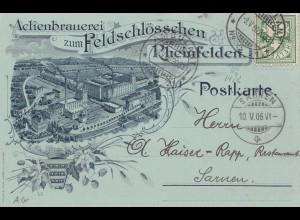 Schweiz: 1905: Postkarte Brauerei Rheinfelden nach Sarnen
