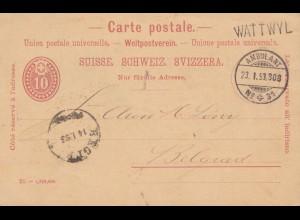 Schweiz: 1893: Ambulant Wattwyl nach Belgrad