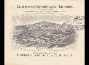 Schweiz: 1909: Brief von Zürich nach Bern, Cellulose Papierfabrik, Bild rücks.