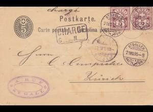 Schweiz: 1883: St. Gallen nach Zürich, Charge