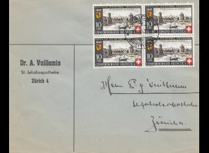 Schweiz: 1942: Zürich - Viererblock