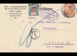Schweiz: 1916: Postkarte Lahr nach Zürich, Nachtaxe, Überwachungsstelle Freiburg