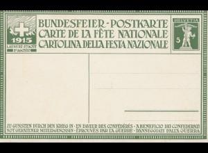 Schweiz: 1915: Ganzsache Bundesfeier P51a P, Probedruck mit Vergleich