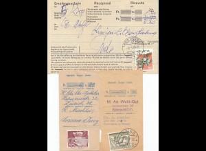 Schweiz: 3x Einlieferungsschein, Empfangschein frankiert