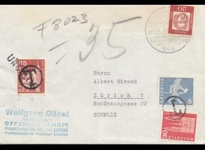 Schweiz: 1965: Brief von Offenbach nach Zürich, Nachgebühr