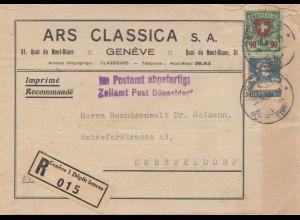 Schweiz: Einschreiben Genf, Drucksache nach Düsseldorf, Zollamt, Adressteil