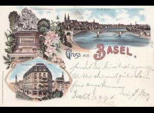 Schweiz: 1897: Ansichtskarte Basel nach Magdeburg