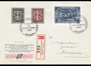 Schweiz: 1945, 3.3., Einschreiben Schweizer Spende für Kriegsgeschädigte