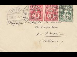 Schweiz: 1905: Genf nach Bixhe/Elsass
