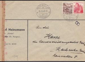 Schweiz: 1943: Möhlin nach Karlsruhe, OKW Zensur