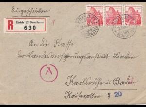 Schweiz: 1943: Zürich als Einschreiben nach Karlsruhe, OKW Zensur