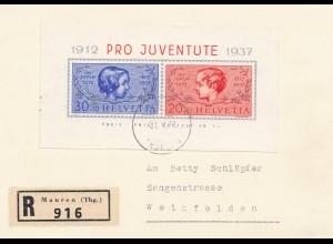 Schweiz: 1937: Pro Juventute als Einschreiben Mauren nach Weinfelden