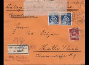 Schweiz: 1916: Einschreiben Zürich nach Halle, Überwachungsstelle Frankfurt
