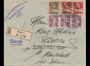 Schweiz: 1920: Einschreiben von Basel nach Karlsbad