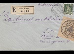 Schweiz: 1916: Einschreiben Aarau Brief nach Wien, Briefzensurstelle