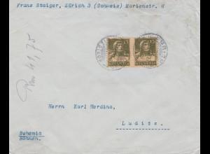 Schweiz: 1920: Zürich nach Luditz/Böhmen, rücks. Vignette Zuckerwaren, Waffeln