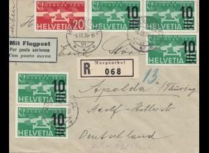 Schweiz: 1936: Flugpost Einschreiben von Morgenthal nach Apolda