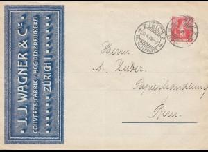 Schweiz: 1908: Zürich nach Bern; Kuvert Fabrik