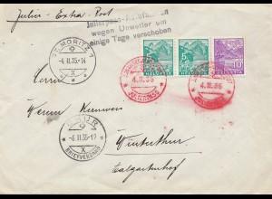 Schweiz: 1935: St. Moritz, Julierpass, nach Winterthur, Pass unpassierbar