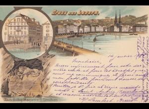 Schweiz: 1898: Ansichtskarte Luzern nach Zürich