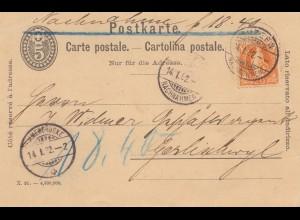 Schweiz: 1892: Ganzsache Luzern
