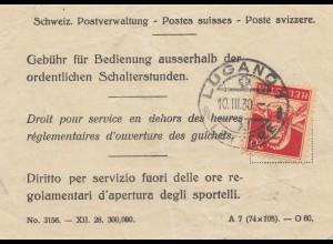 Schweiz: 1930: Gebühr für Bedienung außerhalb der Schalterstunden, Lugano