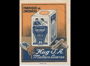 Schweiz: 1918: Malters mit Werbung Zwieback, Luzern