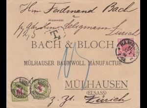 Schweiz: 1894: Hamburg: Brief nach Mülhausen/Elsass, weiter nach Zürich, Taxe