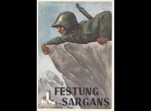 Schweiz: 1943 Ansichtskarte Feldpost: Festung Sargans