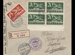 Schweiz: 1925: Einschreiben Flugplatz Dübendorf nach St-Gallen