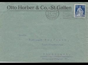 Schweiz: 1918: St. Gallen nach Stuttgart, Textil, Postüberwachungsstelle Stgt.