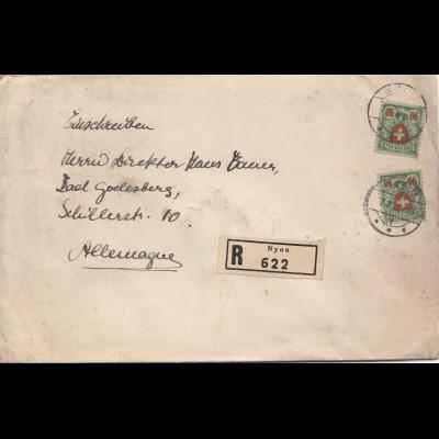 Schweiz: 1932: Einschreiben Nyon nach Bad Godesberg