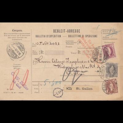 Schweiz: 1899: Begleit Adresse St. Gallen nach Berlin