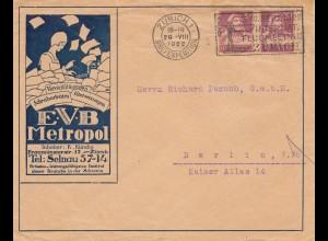 Schweiz: 1922: Zürich nach Berlin, Schreibwaren