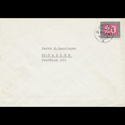 Schweiz: 1945: Brief nach St. Gallen