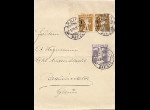 Schweiz: 1916: Zürich nach Braunwald, Streifband