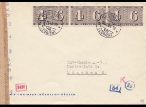 Schweiz: 1943: Küsnacht-Zürich nach München, OKW Zensur
