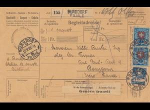 Schweiz: 1926: Burgdorf nach Frankreich, Begleitadresse