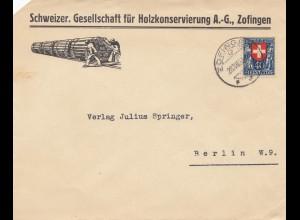 Schweiz: 1923: Zofingen nach Berlin, Holzkonservierung