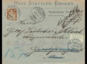 Schweiz: 1914: Ersigen nachTäuffelen, Nachnahme nicht eingelöst, zurück