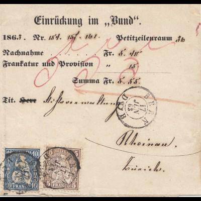 Schweiz: 1863: Bern Einrückung im Bund nach Rheinau