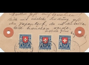 Schweiz: 1928: Paketanhänger Liebuen