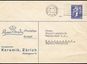 Schweiz: 1939: Zürich nach Waldershof, Keramik, Rostenthal