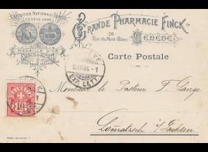 Schweiz: 1906: Postkarte Genf, Pharmacien