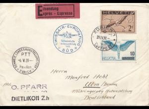 Schweiz: 1939: Dietlikon nach Ulm, Swissair, Eilbote