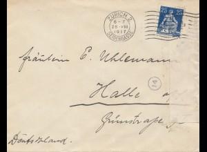Schweiz: 1917: Zürich nach Halle, Zensur