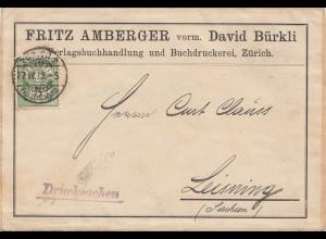 Schweiz: 1909: Drucksache von Zürich nach Leisning, Adressteil